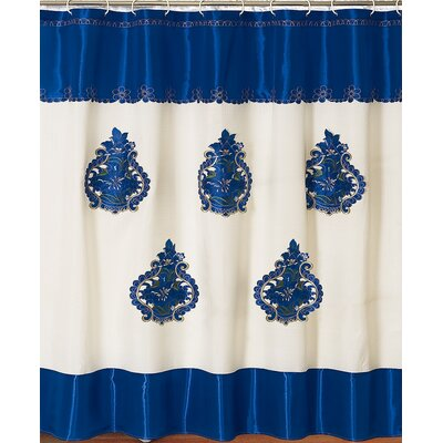Majestic Embroidery Shower Curtain Color: Blue