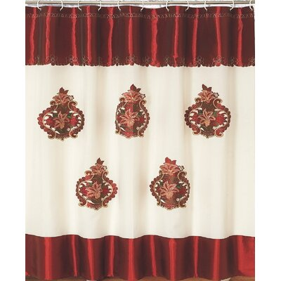 Majestic Embroidery Shower Curtain Color: Burgundy