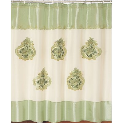 Majestic Embroidery Shower Curtain Color: Green