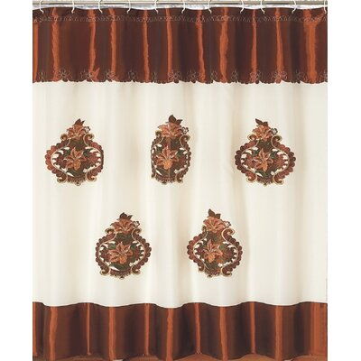 Majestic Embroidery Shower Curtain Color: Brown