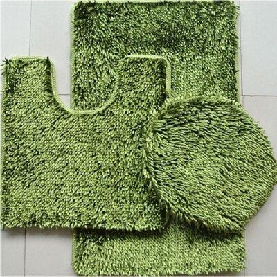 Shiny 3 Piece Bath Rug Set Color: Sage Green