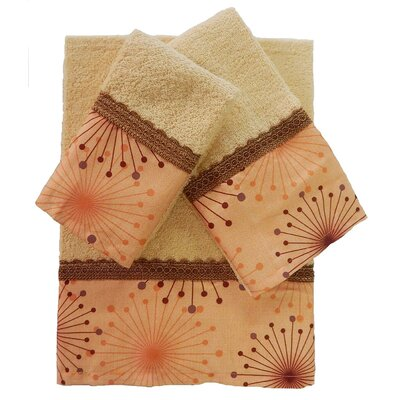 Dante Decorative 3 Piece Towel Set Color: Orange