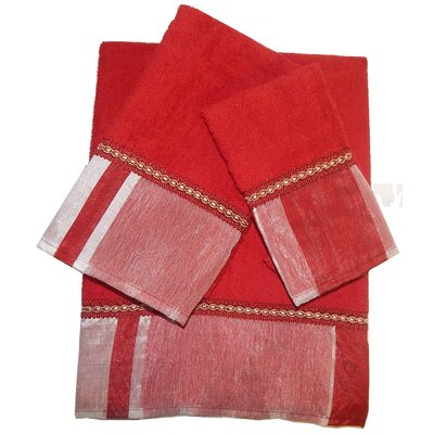 Restrepo Decorative 3 Piece Towel Set Color: Burgundy