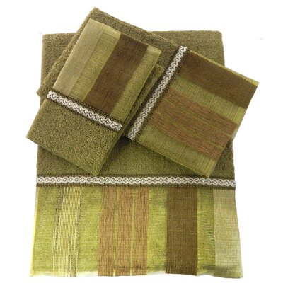 Elisa Decorative 3 Piece Towel Set Color: Green