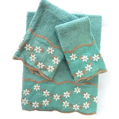 Grant Decorative 3 Piece Towel Set Color: Aqua