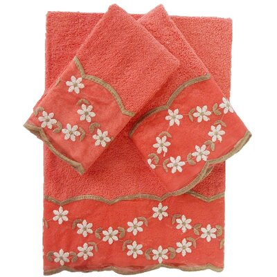 Decorative 3 Piece Towel Set Color: Raspberry