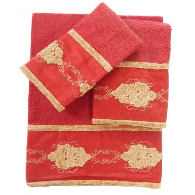 Isaiah Decorative 3 Piece Towel Set Color: Burgundy