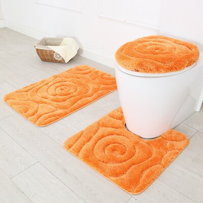 Prestige 3 Piece Bath Rug Set Color: Orange