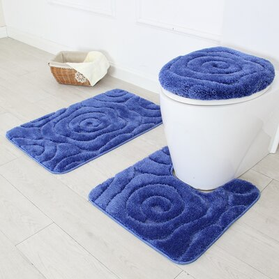 Prestige 3 Piece Bath Rug Set Color: Navy