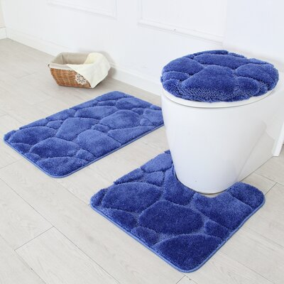 River Rock 3 Piece Bath Rug Set Color: Navy