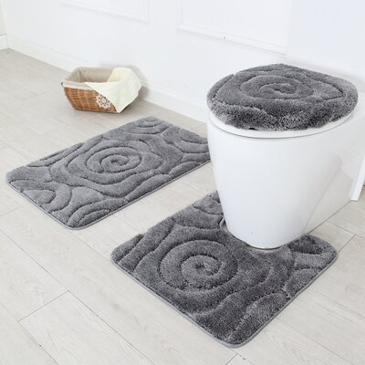 Prestige 3 Piece Bath Rug Set Color: Gray