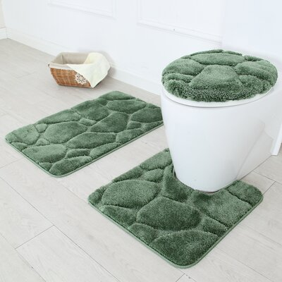 River Rock 3 Piece Bath Rug Set Color: Sage