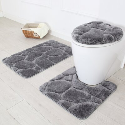 River Rock 3 Piece Bath Rug Set Color: Gray