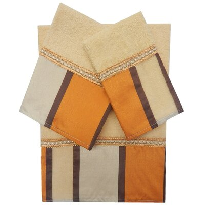 Decorative 3 Piece Towel Set Finish: Orange