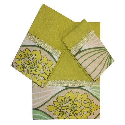 Decorative 3 Piece Towel Set Finish: Green