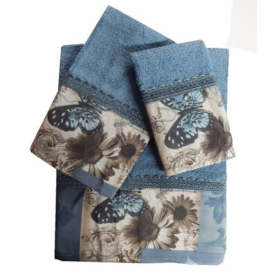 Decorative 3 Piece Towel Set Finish: Blue