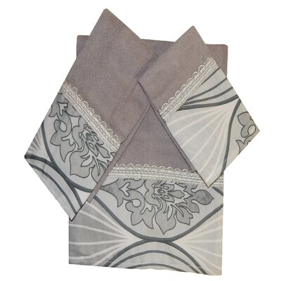 Decorative 3 Piece Towel Set Finish: Silver