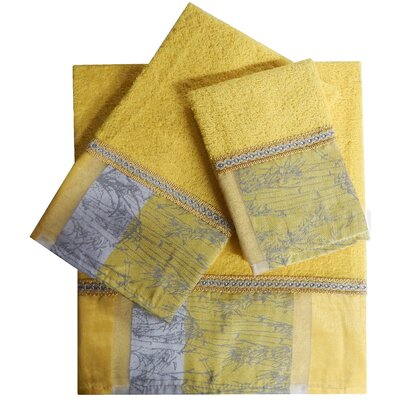 Decorative 3 Piece Towel Set Finish: Yellow