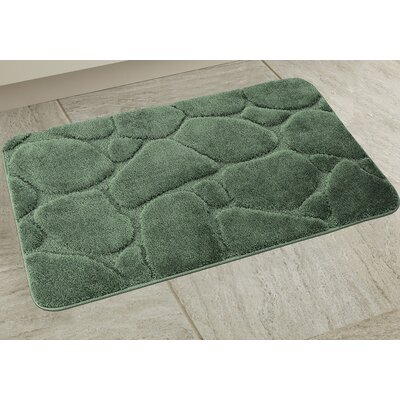 Elegant River Rock Bath Rug Color: Sage Green