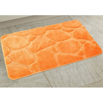 Elegant River Rock Bath Rug Color: Orange