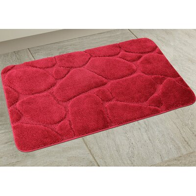 Elegant River Rock Bath Rug Color: Burgundy