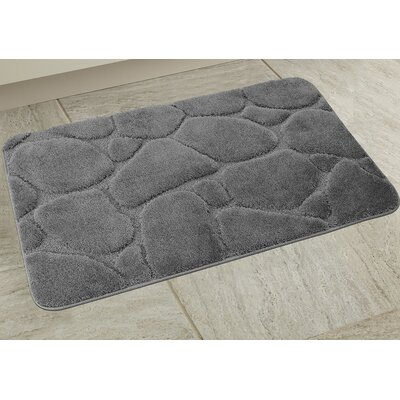 Elegant River Rock Bath Rug Color: Gray