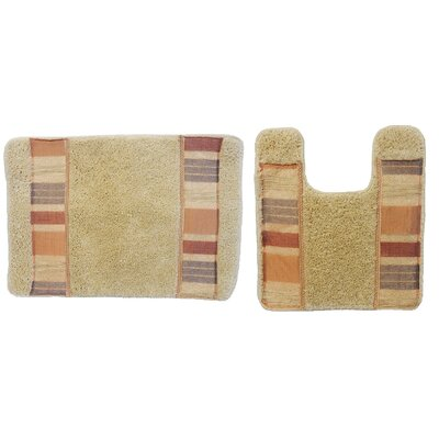 Elisa 2 Piece Decorative Bath Rug Set Color: Rust