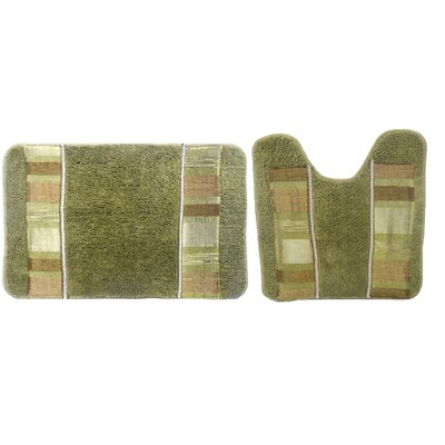 Elisa 2 Piece Decorative Bath Rug Set Color: Green