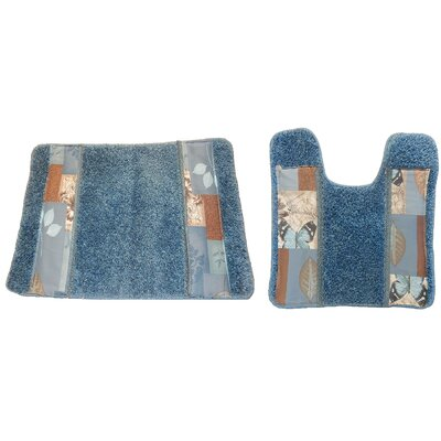 Butterfly Bliss 2 Piece Bath Rug Set Color: Blue