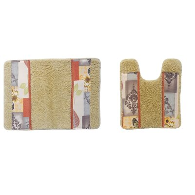 Butterfly Bliss 2 Piece Bath Rug Set Color: Rust