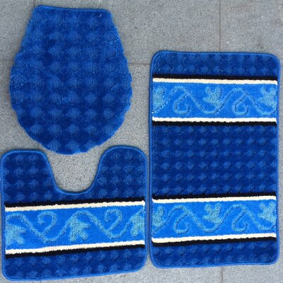 Fryar 3 Piece Bath Mat Set Color: Blue