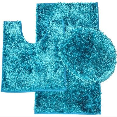 Shiny 3 Piece Bath Rug Set Color: Turquoise