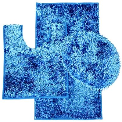 Shiny 3 Piece Bath Rug Set Color: Navy Blue