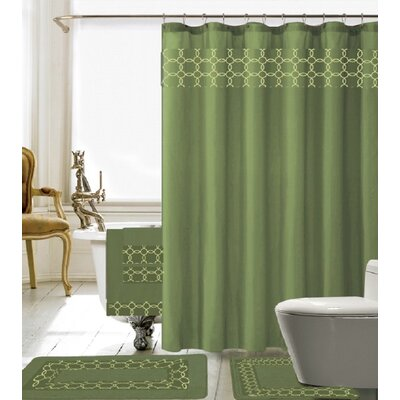 18 Piece Embroidery Shower Curtain Set Color: Sage