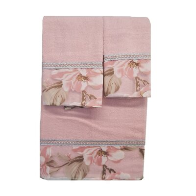Lys 3 Piece Towel Set Color: Pink