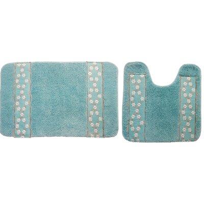 Grant 2 Piece Decorative Bath Rug Set Color: Aqua