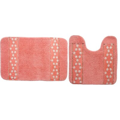 Hinckley 2 Piece Decorative Bath Rug Set Color: Raspberry