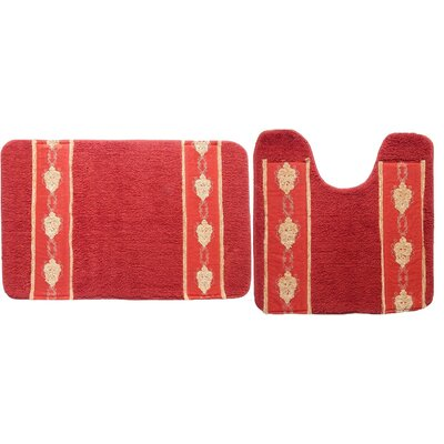 Isaiah 2 Piece Bath Rug Set Color: Burgundy