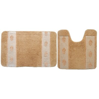 Isaiah 2 Piece Bath Rug Set Color: Beige