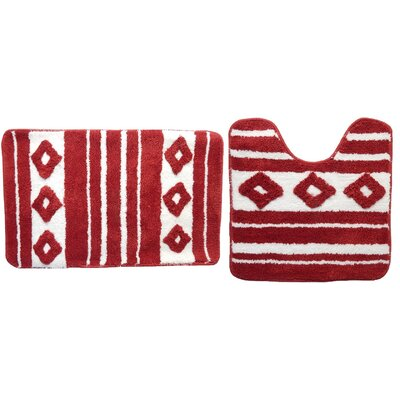 Restrepo 2 Piece Bath Rug Set Color: Red
