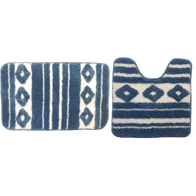 Restrepo 2 Piece Bath Rug Set Color: Blue