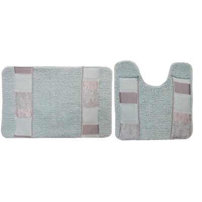 Florine Decorative 2 Piece Bath Rug Set Color: Aqua