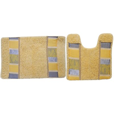 Florine Decorative 2 Piece Bath Rug Set Color: Yellow