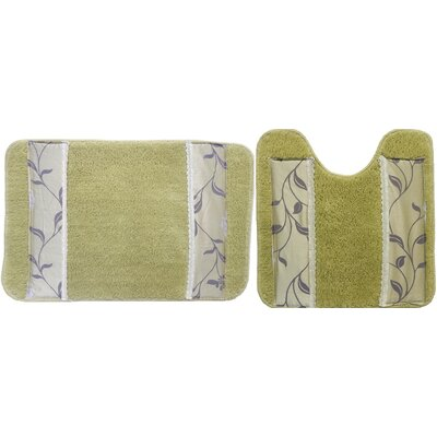 Levesque 2 Piece Bath Rug Set Color: Green