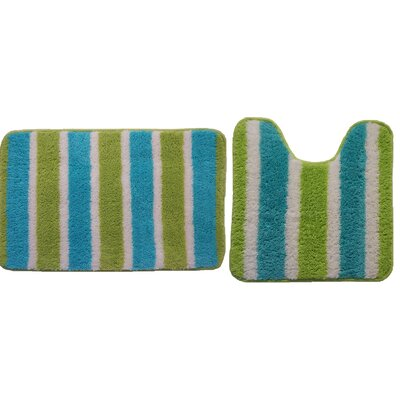 Ridgway Decorative 2 Piece Bath Rug Set Color: Turquoise