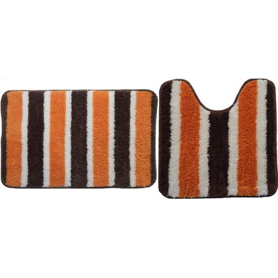 Ridgway Decorative 2 Piece Bath Rug Set Color: Orange