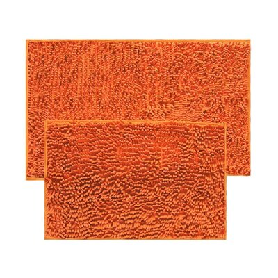 2 Piece Chenille Bath Rug Set Color: Orange