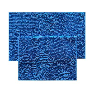 2 Piece Chenille Bath Rug Set Color: Royal Blue