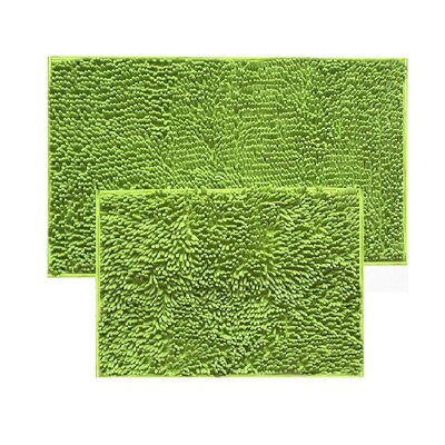 2 Piece Chenille Bath Rug Set Color: Lime Green