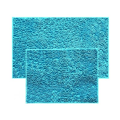 2 Piece Chenille Bath Rug Set Color: Turquoise